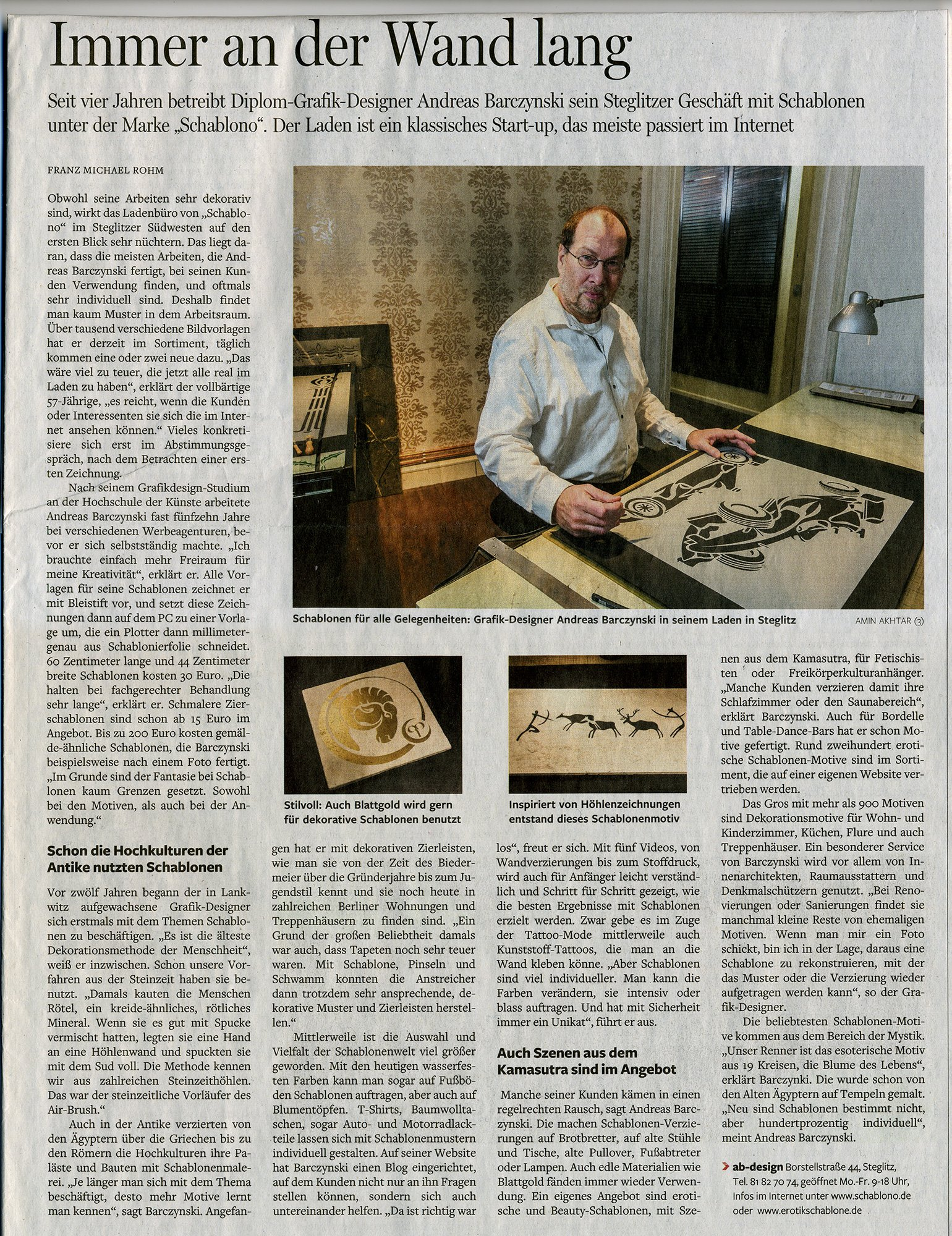 Presse: Schablono in der Berliner Morgenpost
